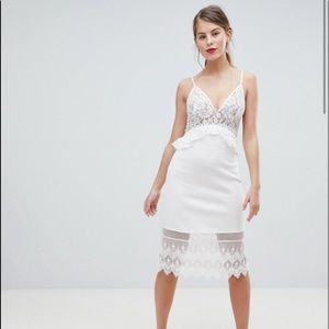 French Connection Strappy Lace Midi Dress White